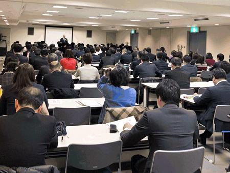 【写真】広島県信農連が農林中金とみずほ銀から講師を招き開催したiDeCo勉強会には県内12JAから100人以上が参加(2月27日)
