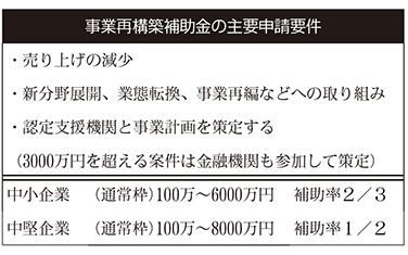 事業再構築補助金の主要申請要件